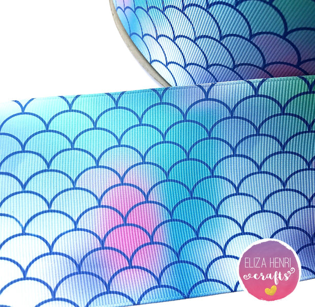 Blue Mermaid Scales Marble Grosgrain Ribbon 2'' or 3''