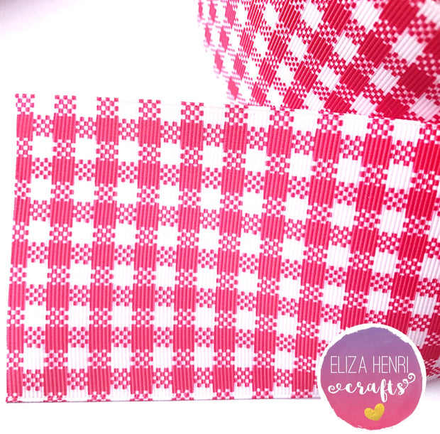Red Gingham Grosgrain Ribbon 2'' or 3''