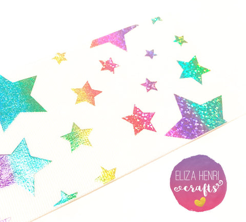 White With Rainbow Foil Stars Grosgrain Ribbon 3''