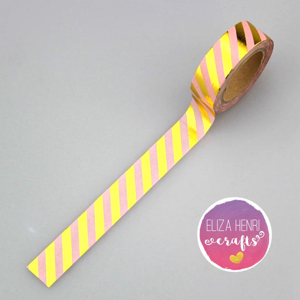 Luxury Paper Foil Washi Tape- Gold Stripes on Pink