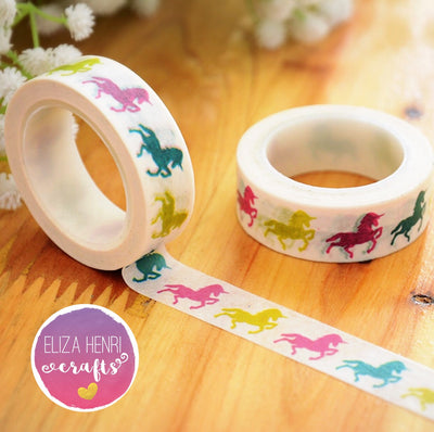 Luxury Paper Washi Tape- White Rainbow Unicorns