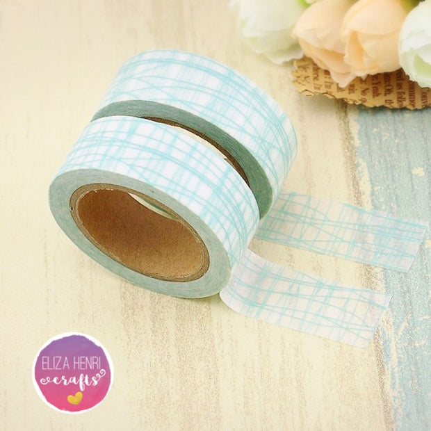 Luxury Paper Washi Tape- Mint Grid Effect