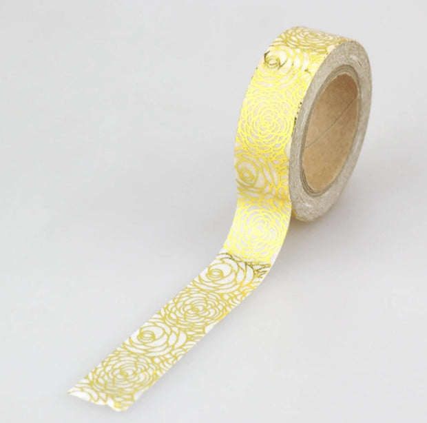 Luxury Paper Foil Washi Tape- Gold Roses