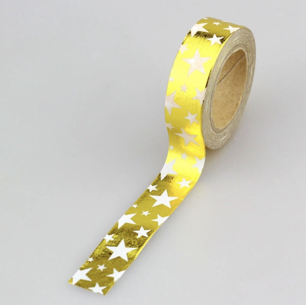 Luxury Paper Foil Washi Tape- Gold Stars