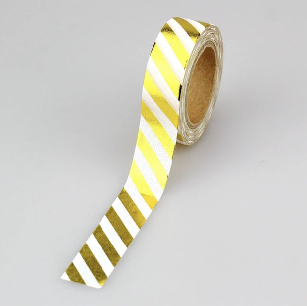 Luxury Paper Foil Washi Tape- Gold Stripes