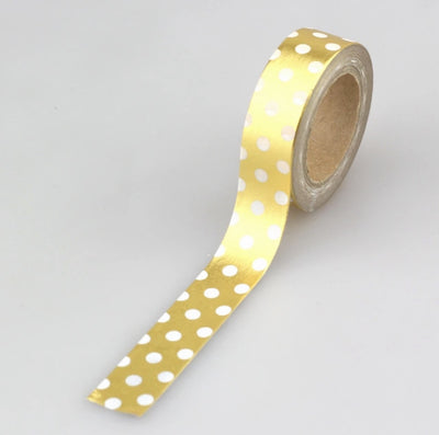 Luxury Paper Foil Washi Tape- Gold Foil Spots