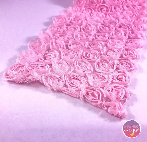 Baby Pink Rose Flower Lace Fabric