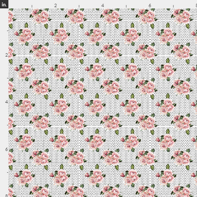 Polka Dot Wild Child Roses Artisan Fabric Felt