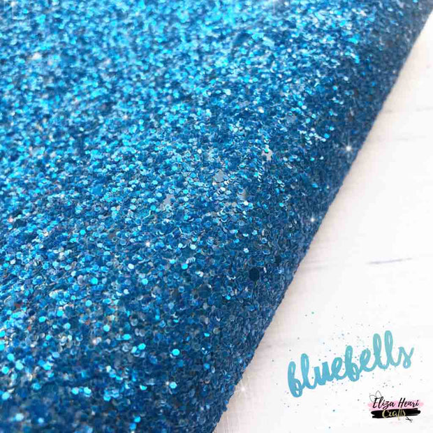 blue chunky glitter fabric