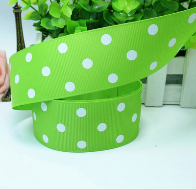 Bright Green Grosgrain Ribbon with white polka Dots 1.5""