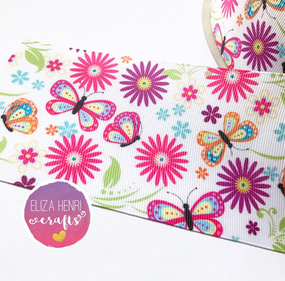 Butterflies & Flowers Grosgrain Ribbon 2'' or 3''