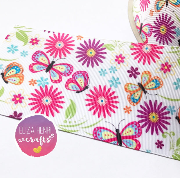 Butterflies & Flowers Grosgrain Ribbon 2'' or 3'' - Eliza Henri Craft Supply