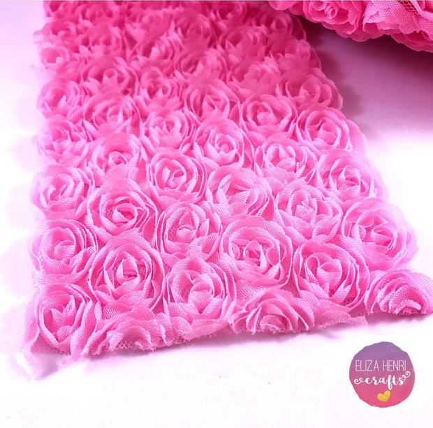 Candy Pink Rose Flower Lace Fabric