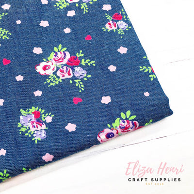 Dark Coloured Floral Denim Fabric Felt