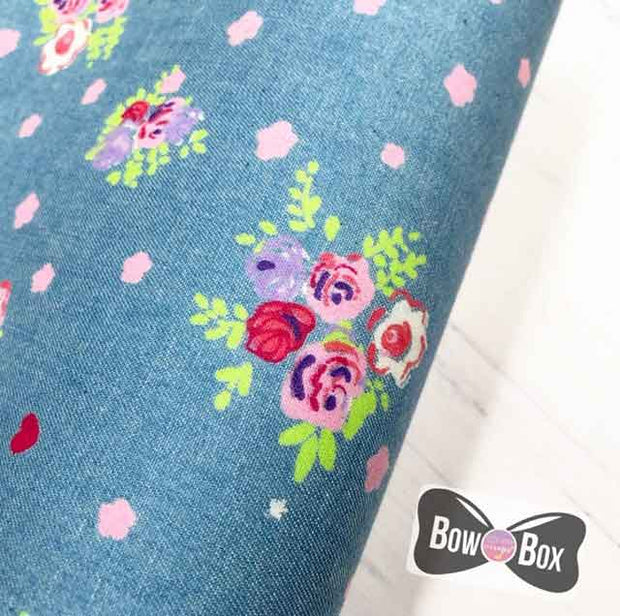Coloured Floral Denim Fabric Felt