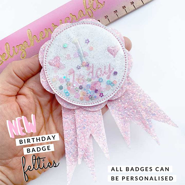 Exclusive EHC Birthday Badge Shaker Felties