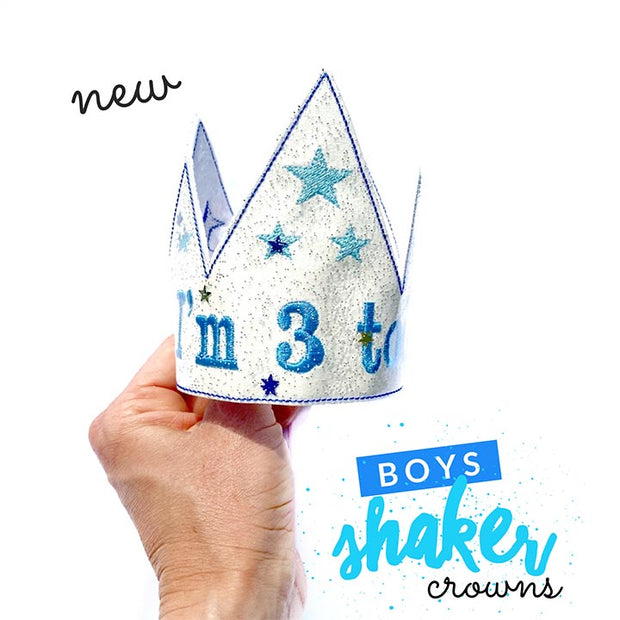 Boys Birthday Feltie Embroidered Crowns