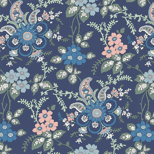 Fireside - Blue -Hesketh House Liberty Cotton Fabric 04775651X