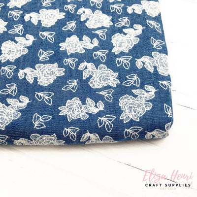 Dark White Floral Denim Fabric Felt