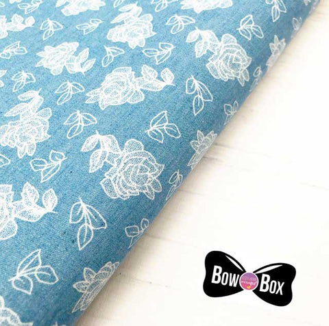 White Floral Denim Fabric Felt