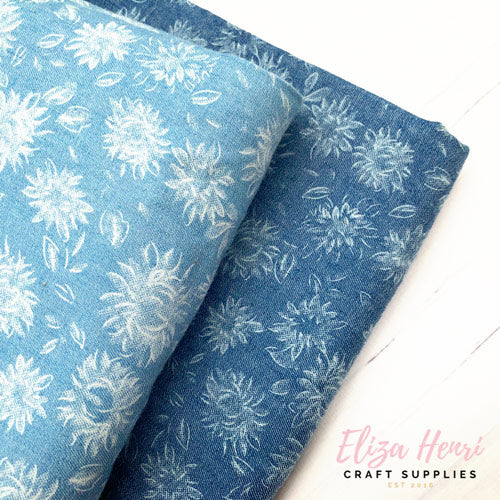 Dandelion Floral Denim Fabric Felt