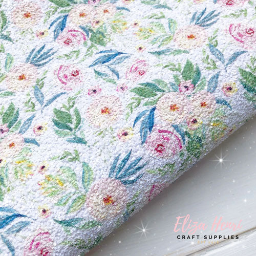 Spring Bloom Floral Print Chunky Glitter Fabric