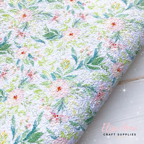 floral print chunky glitter fabric