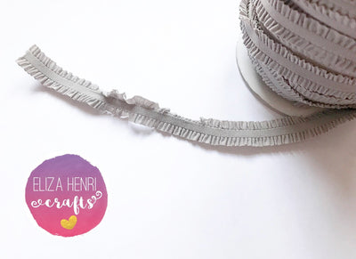 Frilly Grey Ruffle FOE Hair Elastic - Eliza Henri Craft Supply