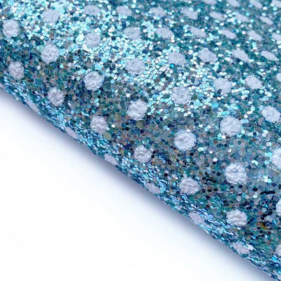 Exclusive Polka Dot Ice Princess Blue Chunky Glitter Fabrics