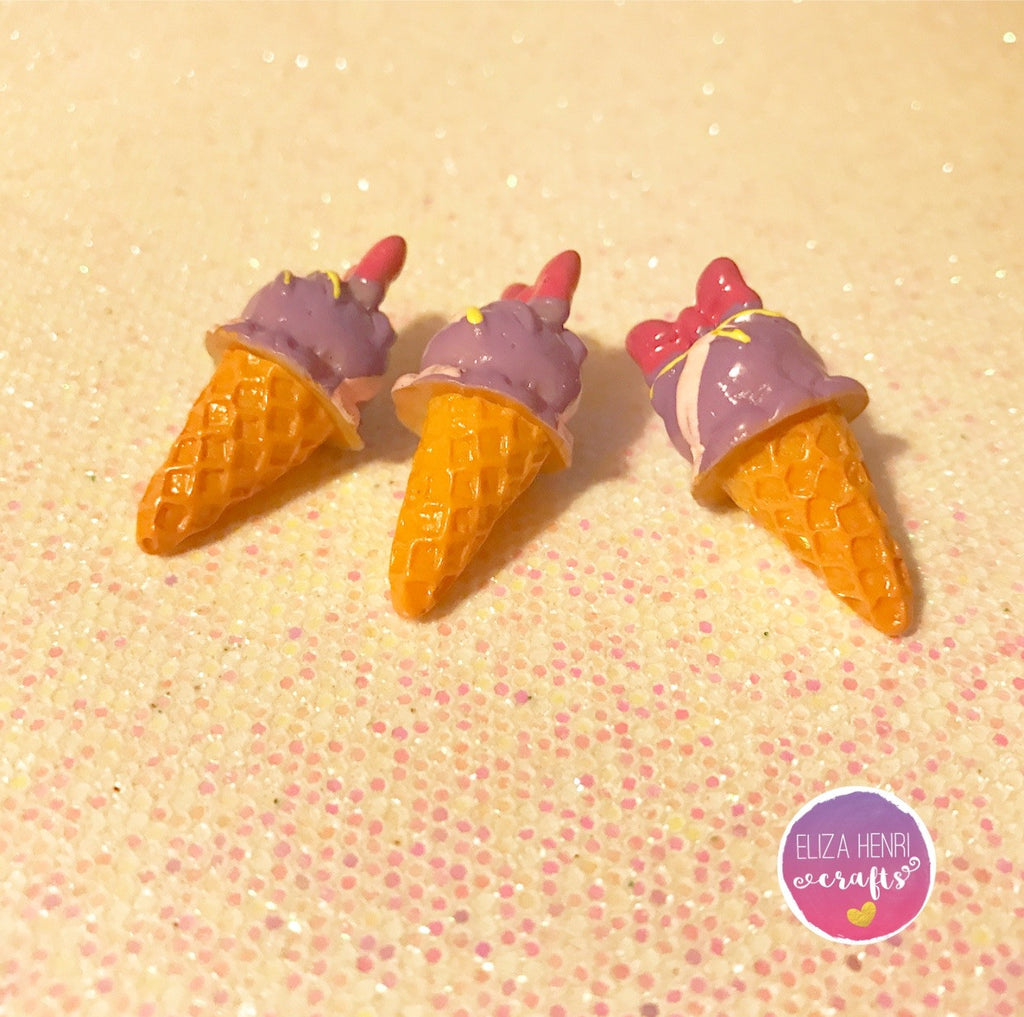 Summer Ice Cream Bow 3D Charm Embellishments