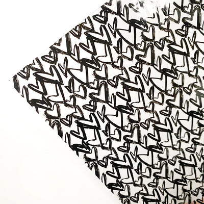 Monochrome Gathered Hearts Transparent Fabric Sheets