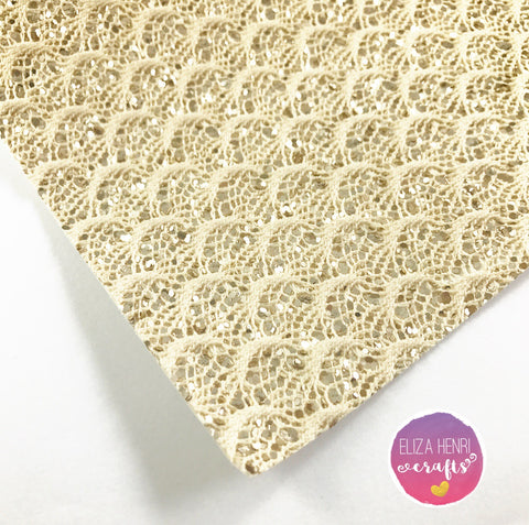 Golden Mermaid Scales Glitter Lace Fabric