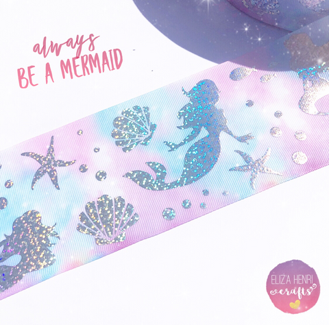 Mermaid Foiled Holographic Grosgrain Ribbon 3''
