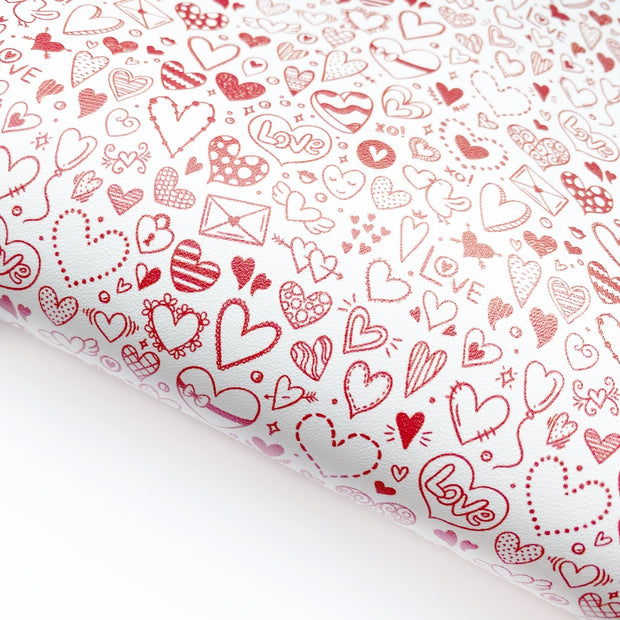 Heart Doodles Red Faux Leather Fabric Sheets