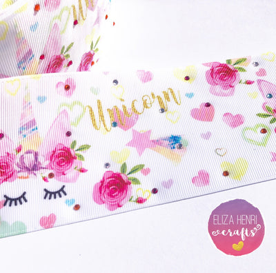 Diamonte Sleepy Unicorn Grosgrain Ribbon 3''