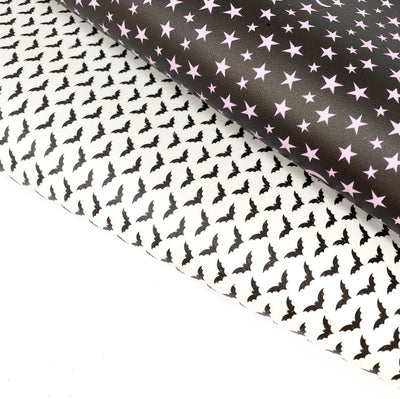 Witches and Bats Smooth Faux Leather Fabric Sheets