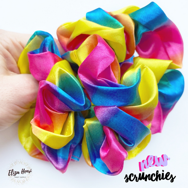Luxury Rainbow Silk Scrunchies