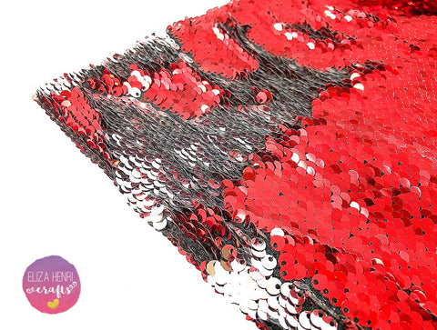 Cherry Pop Red to Silver Colour change Mermaid reversible Sequin Fabric Felt