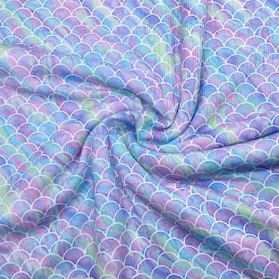 Mermaid Scales Premium Stretch Ribbed Knit Fabric
