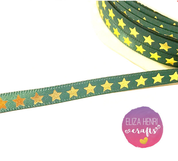 Green satin 6 mm Star pattern Ribbon