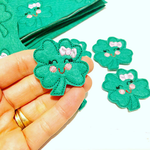 Four Leaf Clover Girly Bow Lucky Charms Felties
