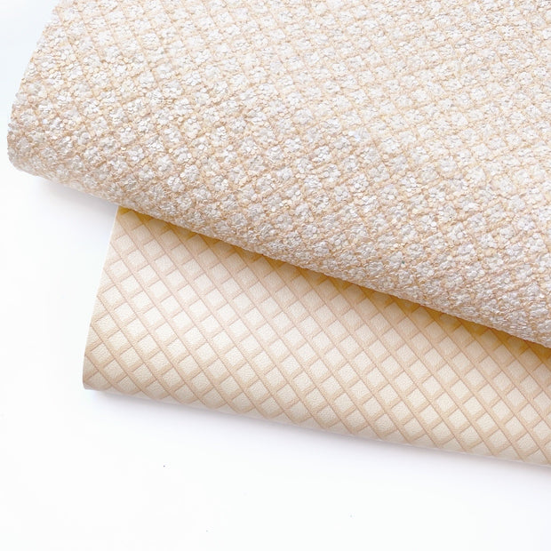 Ice Cream Cone Wafer Faux Leather & Glitter Fabric Sheets
