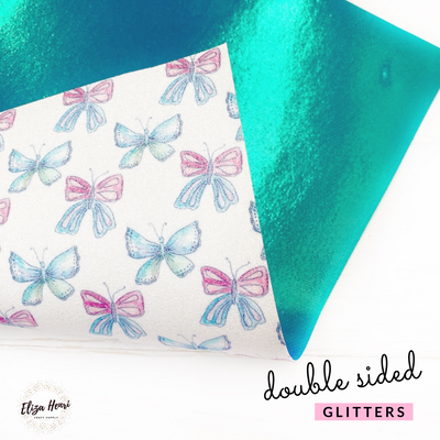 Double Sided Butterfly Sisters Fine Glitter Fabric