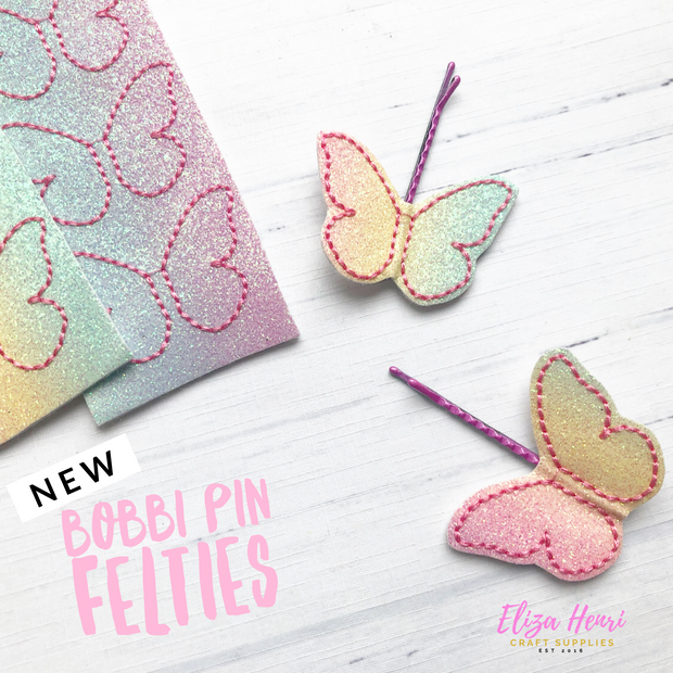 Pastel Rainbow Butterfly Bobby Pin Felties- Featured in June Bow Box