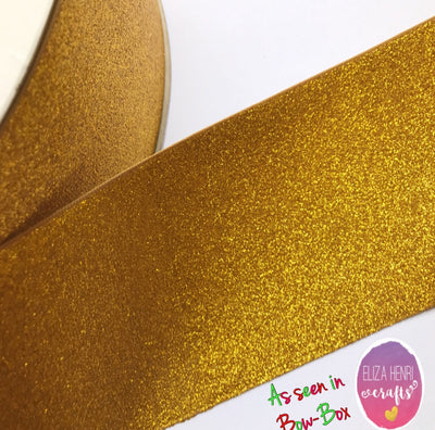 Gold Glitter Grosgrain Ribbon 3''