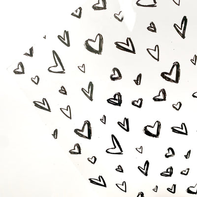 Monochrome Scattered Hearts Transparent Fabric Sheets