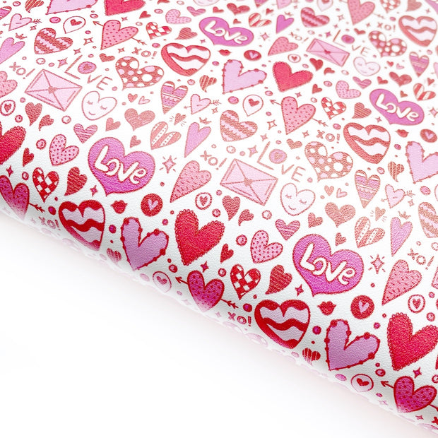 Heart Doodles Red & Pink Faux Leather Fabric Sheets