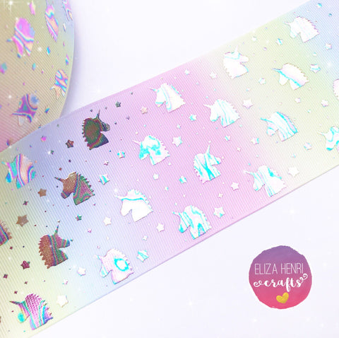 Pastel Rainbow Mini Holographic Unicorn Heads Foil Grosgrain Ribbon 3''