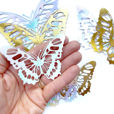 Metallic 3D Cut-out Fluttery Butterfly Embellishments