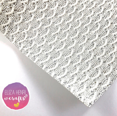 Silver Mermaid Scales Glitter Lace Fabric